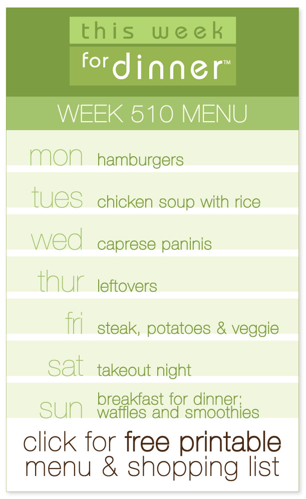 Week 510 Weekly Menu including FREE printable weekly meal plan and ingredients list from @janemaynard