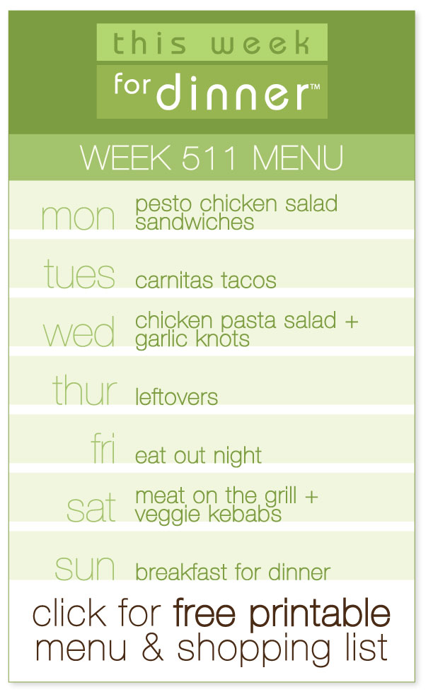Week 511 Weekly Menu from @janemaynard including FREE printable meal plan and ingredients list!