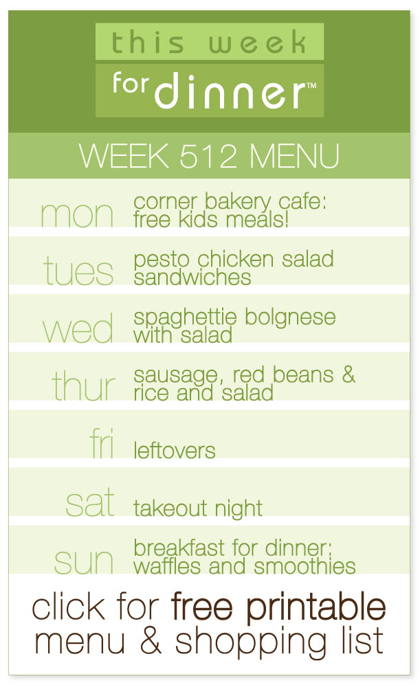 Week 512 Weekly Dinner Menu + Ingredients List including FREE printable from @janemaynard