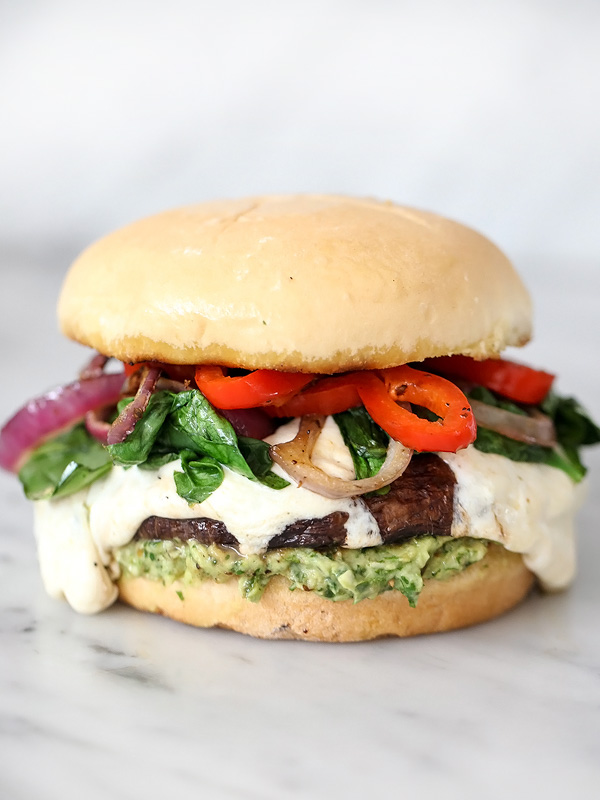 Portobello Mushroom Burger with Avocado Chimichurri from Foodie Crush