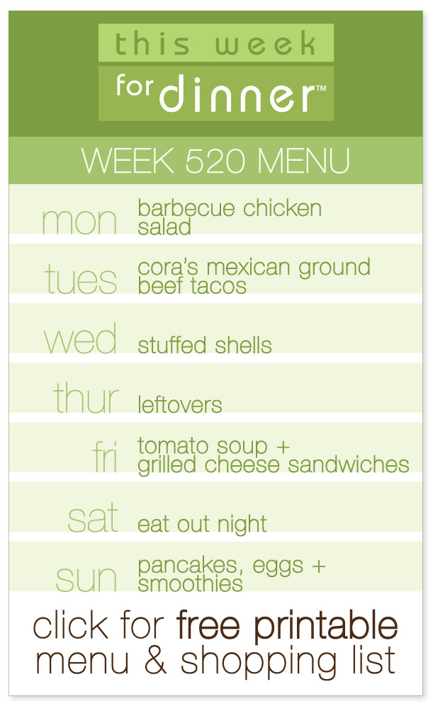 Week 520 Weekly Dinner Menu from @janemaynard including FREE printable PDF meal plan and ingredients list!