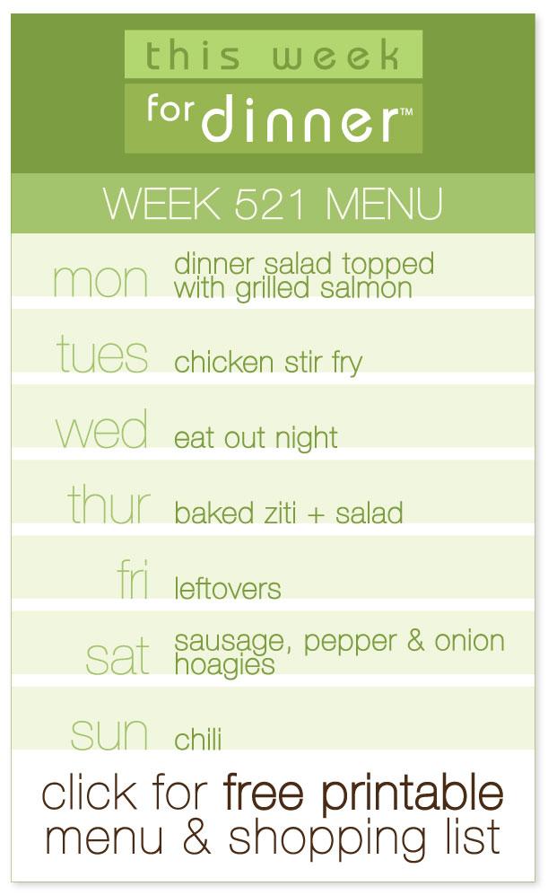Week 521 Weekly Menu from @janemaynard including FREE printable dinner meal plan and ingredients list!