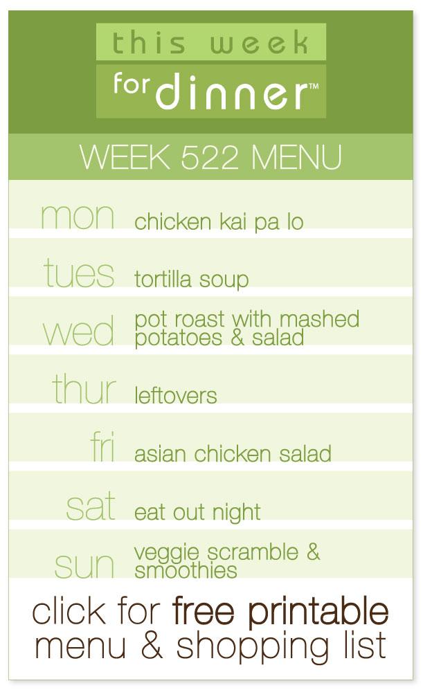 Week 522 Weekly Dinner Menu from @janemaynard including FREE printable PDF with meal plan and ingredients list