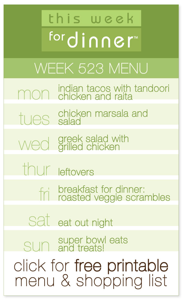 Week 523 Weekly Menu with FREE printable PDF of the meal plan and shopping list from @janemaynard