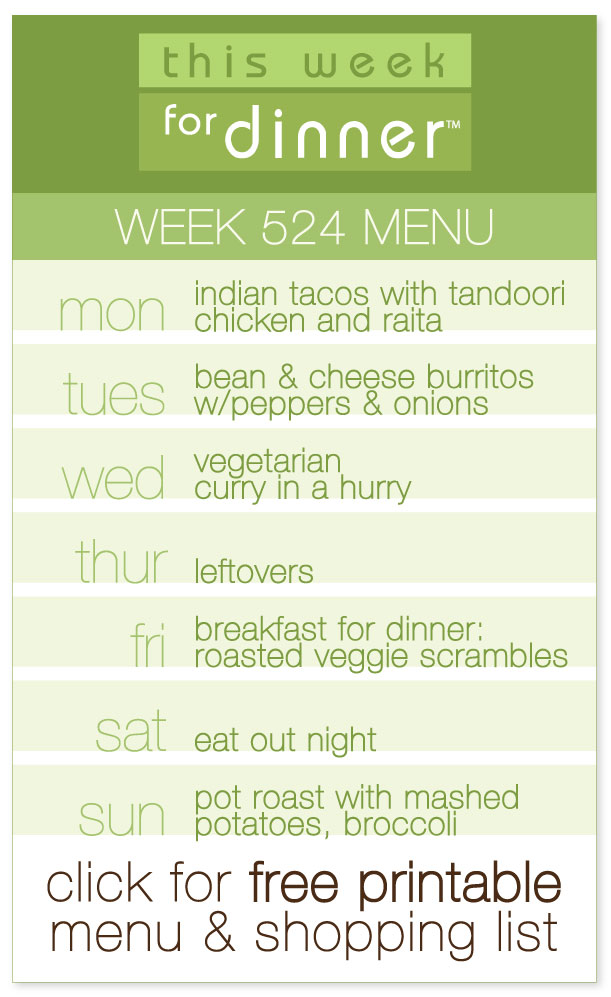 Week 524 Weekly Menu from @janemaynard including FREE printable PDF with dinner meal plan and ingredients list