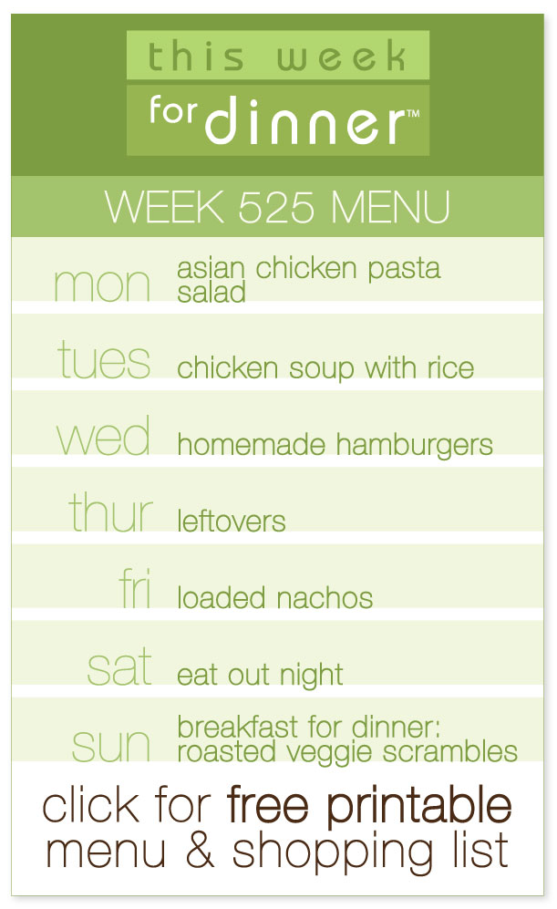 Week 525 Weekly Menu from @janemaynard including dinner meal plan and ingredients list!
