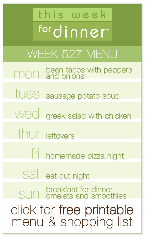 Week 527 Weekly Menu from @janemaynard including FREE printable PDF with dinner plans and ingredients list!