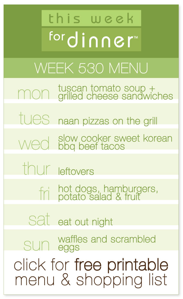 Week 530 Weekly Menu from @janemaynard including FREE printable PDF with meal plan and ingredients list