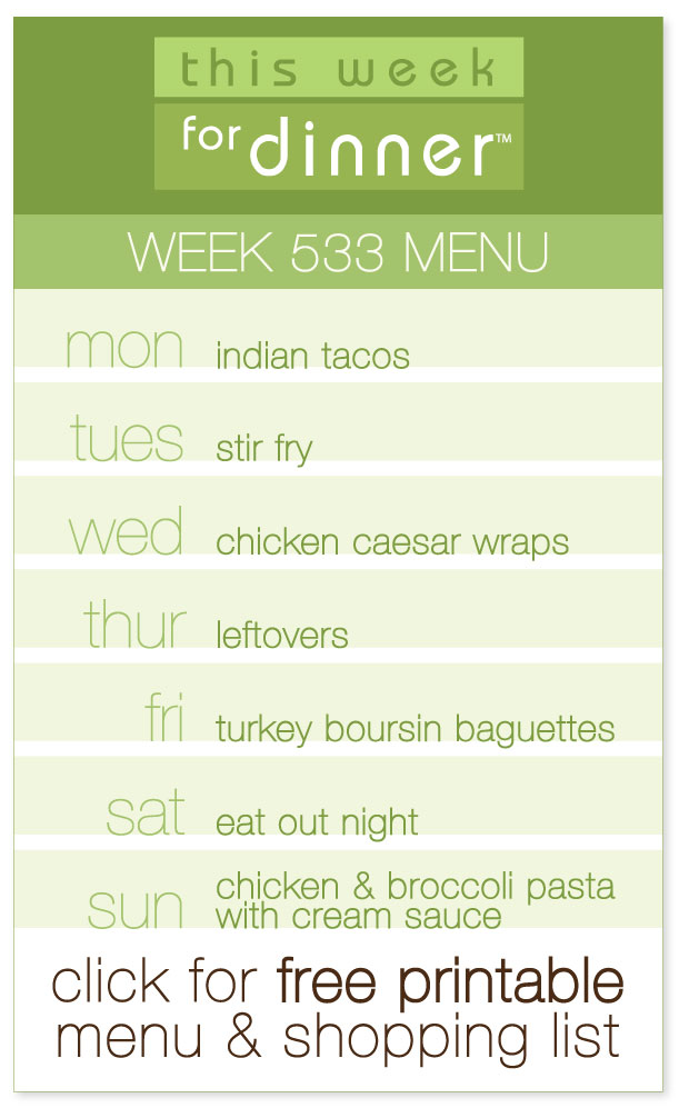 Week 533 Weekly Menu from @janemaynard including FREE printable PDF with dinner plans and ingredients list
