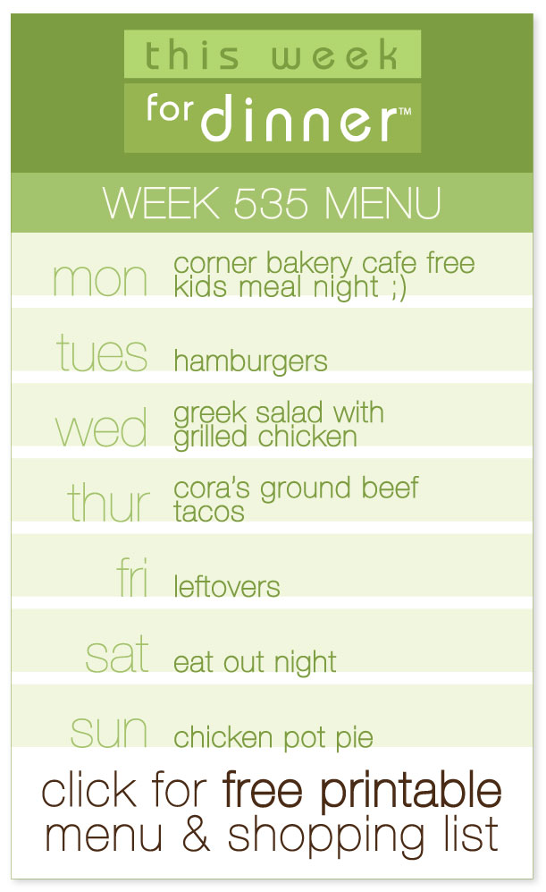 Week 535 Weekly Menu including free printable PDF of dinner plan and ingredients list from @janemaynard
