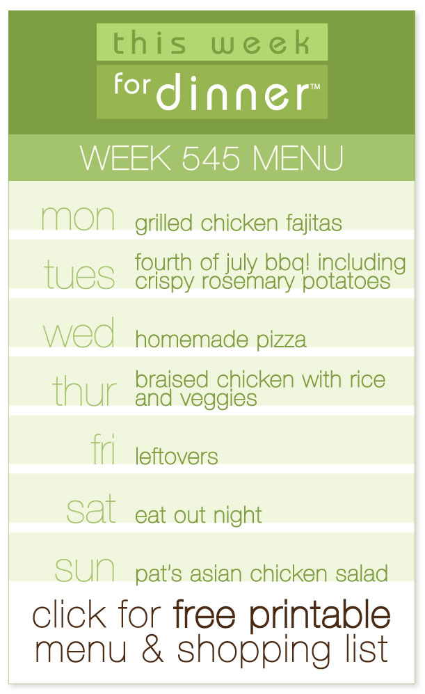 Week 545 Weekly Menu from @janemaynard including FREE printable PDF with menu and ingredients list!