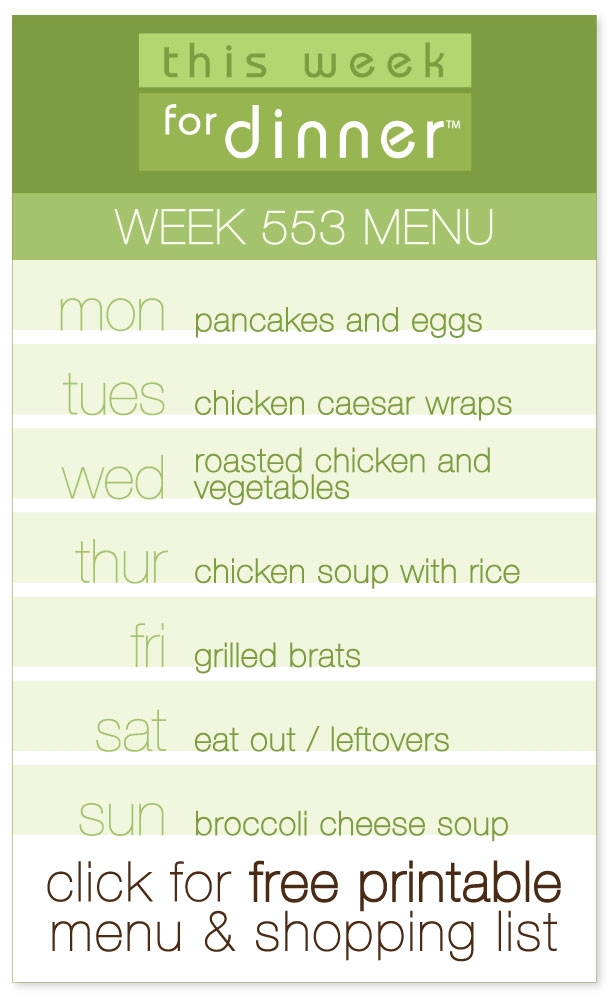 Week 553 Weekly Menu from @janemaynard including FREE printable of dinner plan and ingredients list!