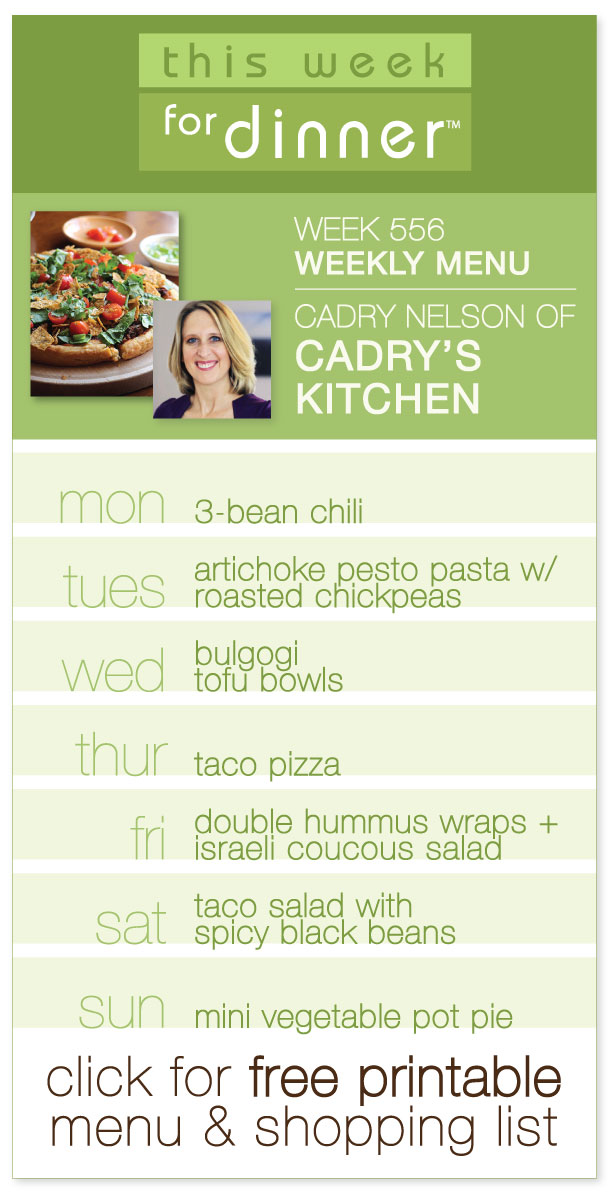 Week 556 Weekly Menu - Guest Menu by Cadry Nelson of the vegan food blog Cadry's Kitchen, from @janemaynard