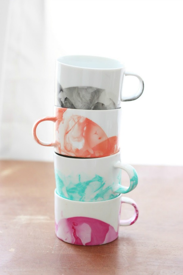 Week 560 Weekly Menu on @janemaynard from Rachel Faucett: DIY Marbled Mugs