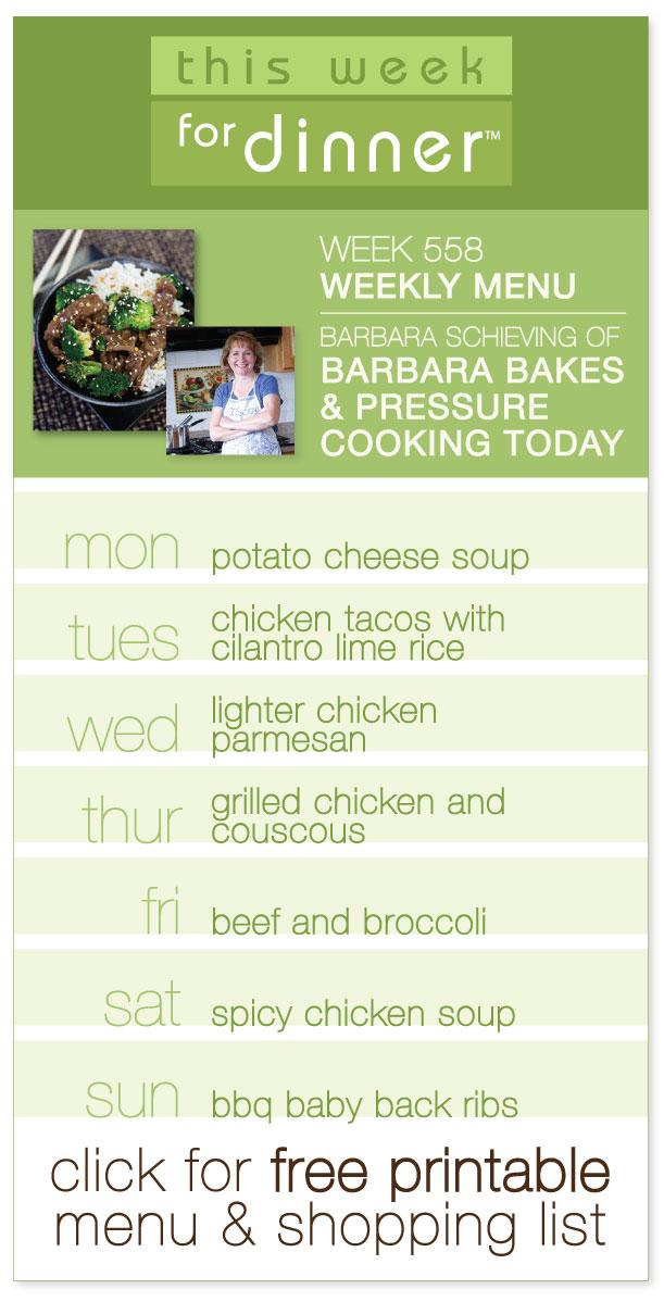 Week 558 Weekly Menu On @janemaynard   Guest Menu From Barbara Schieving,  Including Tons