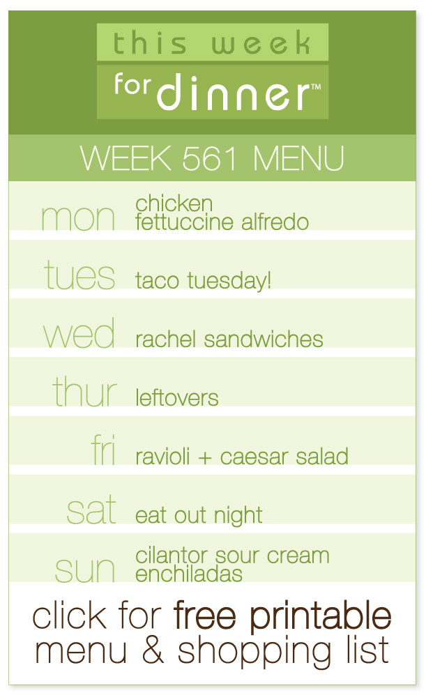 Week 561 Weekly Menu from @janemaynard, including Cilantro Sour Cream Enchiladas and More!