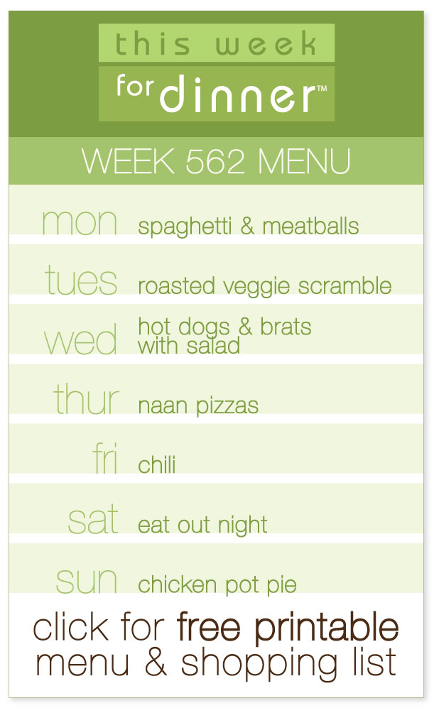 Week 562 Weekly Menu from @janemaynard