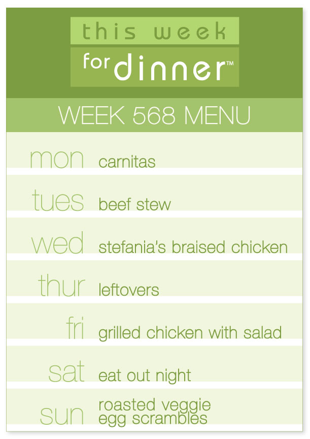 Week 568 Weekly Dinner Menu