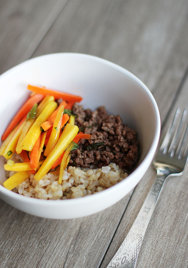 Thai Basil Beef with Carrot Slaw and Coconut Brown Rice, a delicious and easy go-to dinner! From @janemaynard