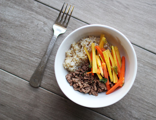 Recipe for Thai Basil Beef with Carrot Slaw and Coconut Brown Rice
