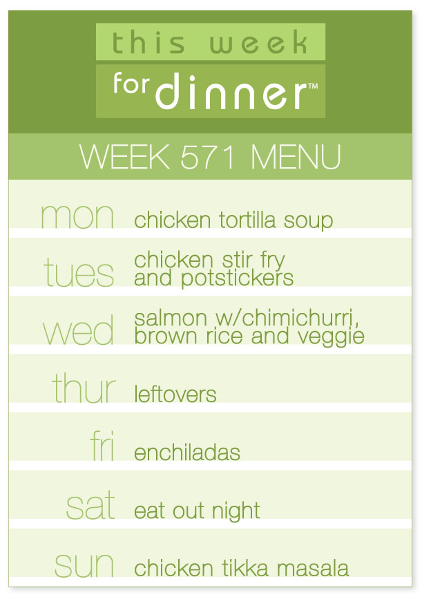 Week 571 Weekly Dinner Menu from @thisweekfordinner