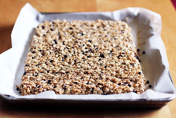 What the gluten-free homemade granola bars will look like when formed into shape on the pan