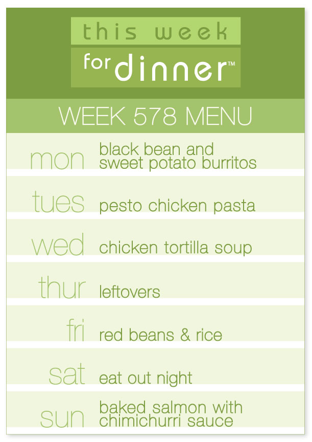 Weekly menu from This Week for Dinner for the week of May 7, 2018, including pesto chicken pasta and chicken tortilla soup!