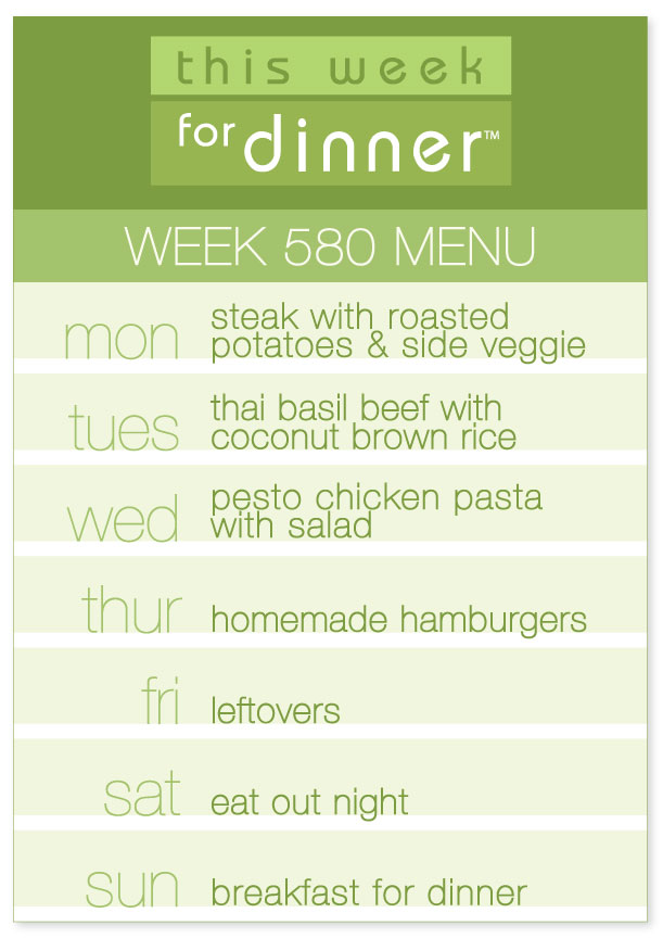 Weekly Dinner Menu from Jane Maynard for the week of May 21, 2018