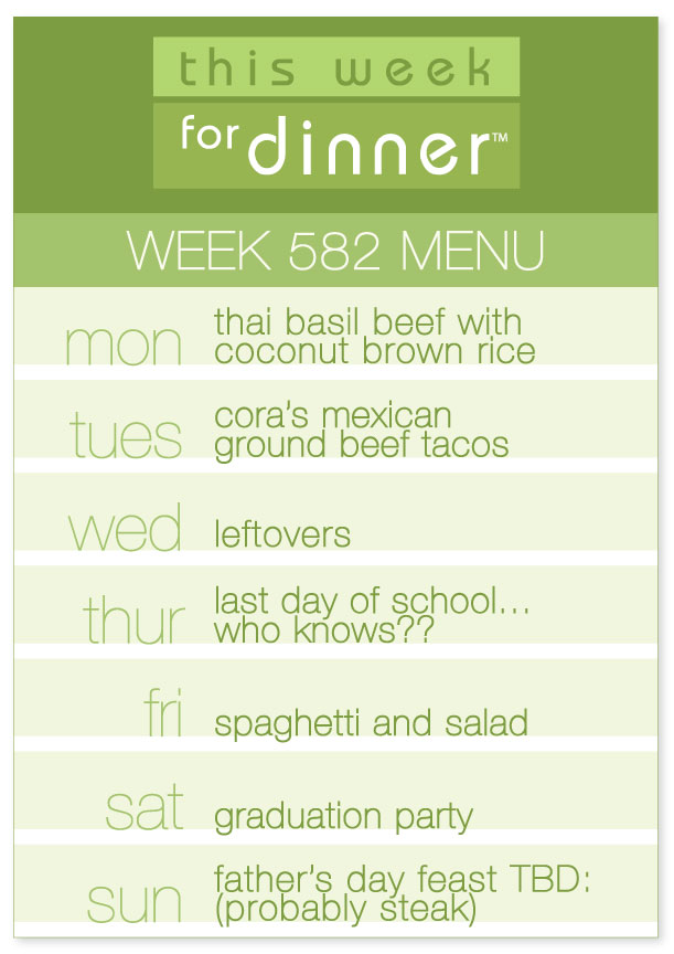 Week 582 Weekly Dinner Menu from Jane Maynard of This Week for Dinner