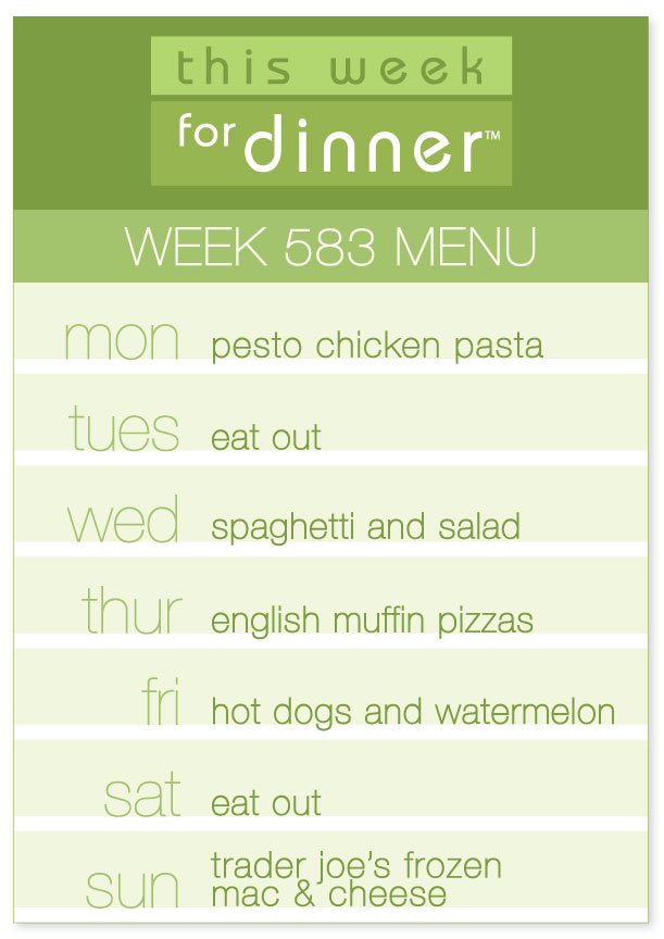 Weekly dinner plans - Week 583 Weekly Menu from This Week for Dinner