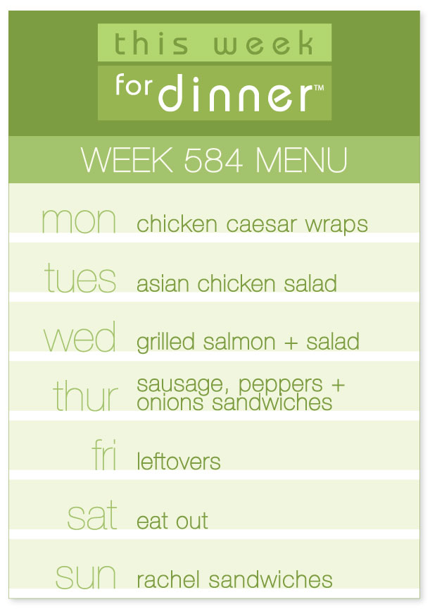 Weekly dinner plans, Week 584 Weekly Menu from This Week for Dinner