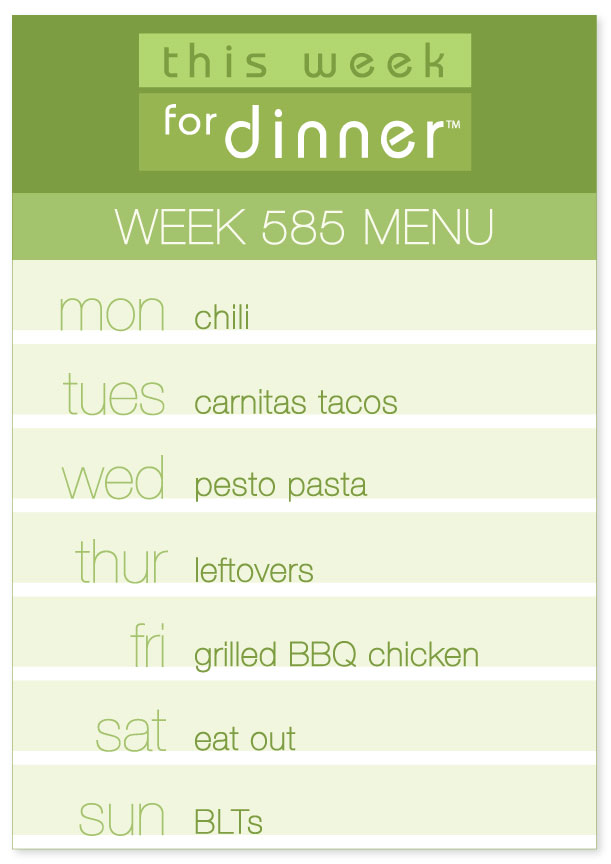 Weekly Dinner Menu for the week of July 16, 2018