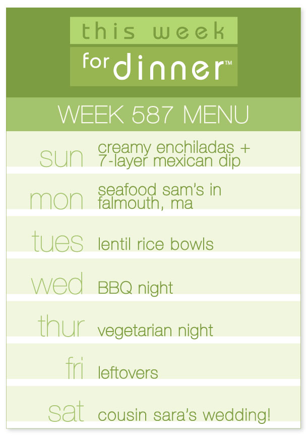 Week 587 Weekly Dinner Menu for week of 7/29/2018
