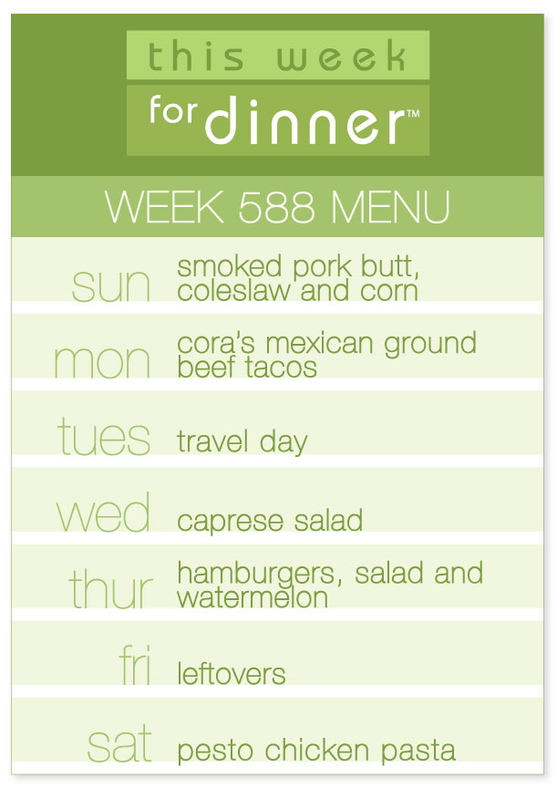 Weekly Dinner Menu for the week of August 12, 2017