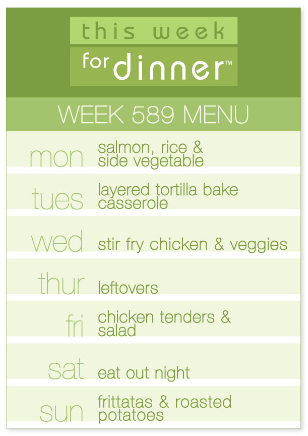 Weekly Dinner Menu for week of 8/20/19: Salmon, Tortilla Casserole, Stir Fry, Chicken Tenders & Frittatas