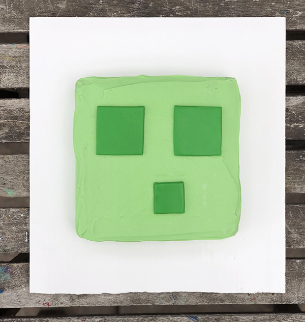 Picture of a Minecraft Slime Birthday Cake (instructions for assembly included in the post)