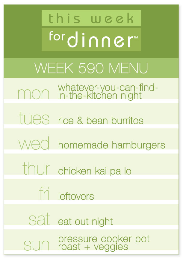 Dinner Plans from This Week for Dinner for the week of 9/3/18 (Burritos, Hamburgers, Chicken Kai Pa Lo & Pressure Cooker Pot Roast)