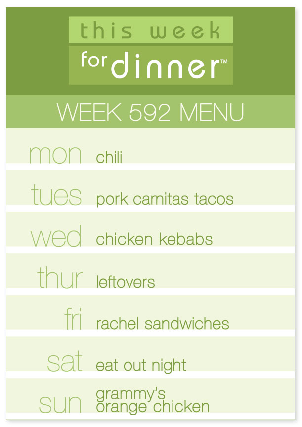 Week 592 Weekly Dinner Menu from This Week for Dinner: Monday, Chili; Tuesday, Carnitas; Wednesday, Kebabs; Friday, Rachel Sandwiches, Sunday, Grammy's Orange Chicken. Leftovers and eat out the other nights!