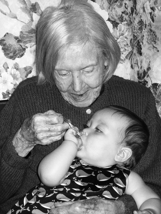 Cate with her great-great-grandma Rose, who always made creamed onions for the holidays