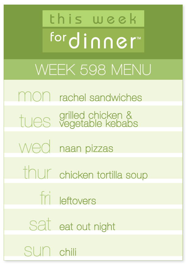 Weekly Dinner Plan for the week of 11/5/18: Monday - Rachel Sandwiches; Tuesday - Kebabs; Wednesday - Naan Pizzas; Thursday - Chicken Tortilla Soup; Friday - Leftovers; Saturday - Eat out; Sunday - Chili