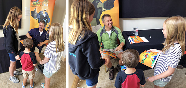 Chris and Martin talk with my kids at the Wild Kratts Live show
