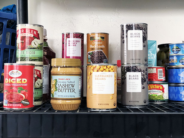 Newly-organized canned goods shelf as inspired by Marie Kondo