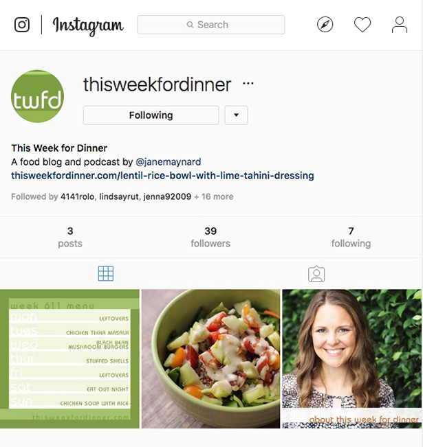 Screenshot of This Week for Dinner's Instagram page @thisweekfordinner
