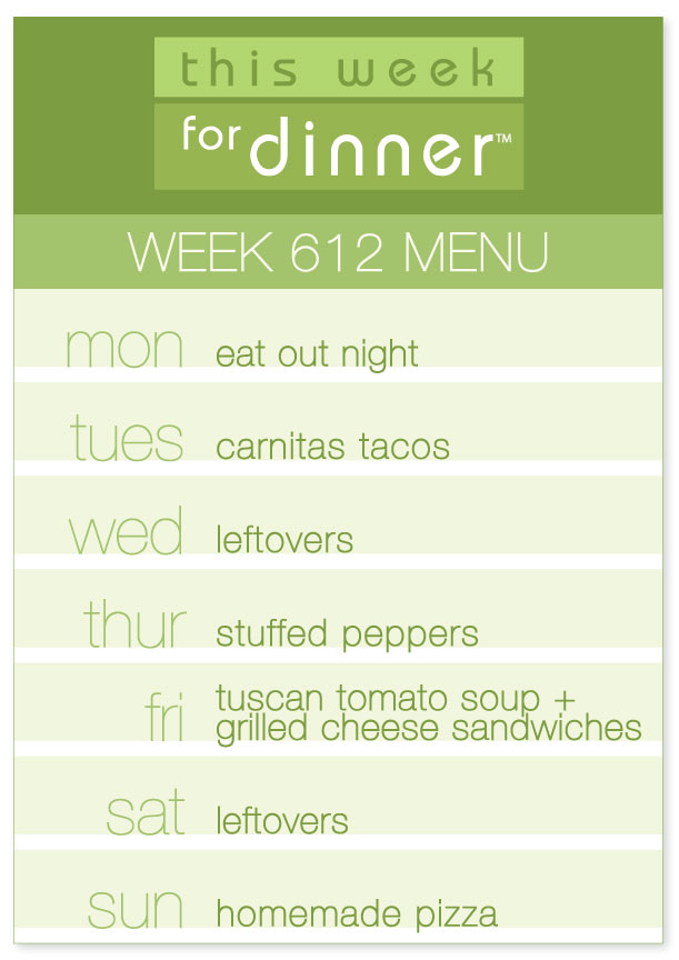 Week 612 weekly dinner menu list