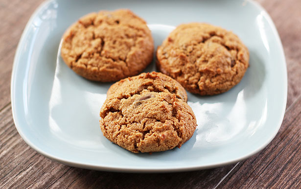 Side view of gluten-free cashew butter cookies on a plate