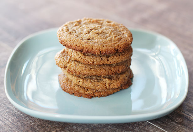 Stack of gluten-free vegan cashew butter cookies on a blue plate