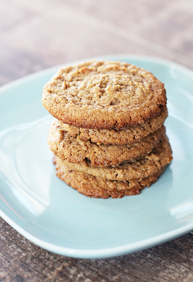Side view of a stack of vegan, gluten-free cashew butter cookies