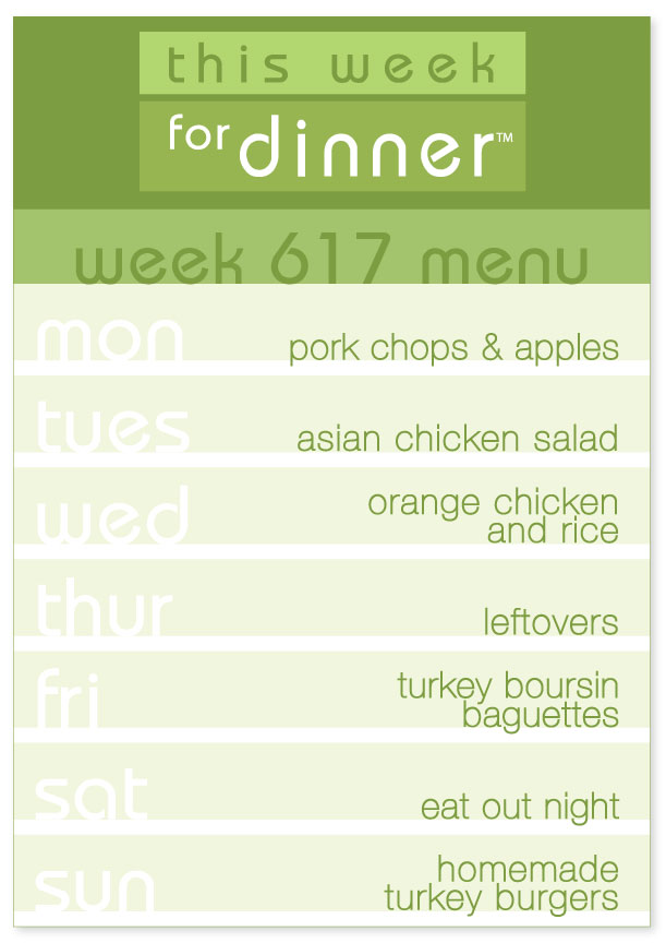 Weekly Menu #617: Pork chops, Asian Chicken Salad, Orange Chicken, Turkey Boursin Baguetts, Turkey Burgers