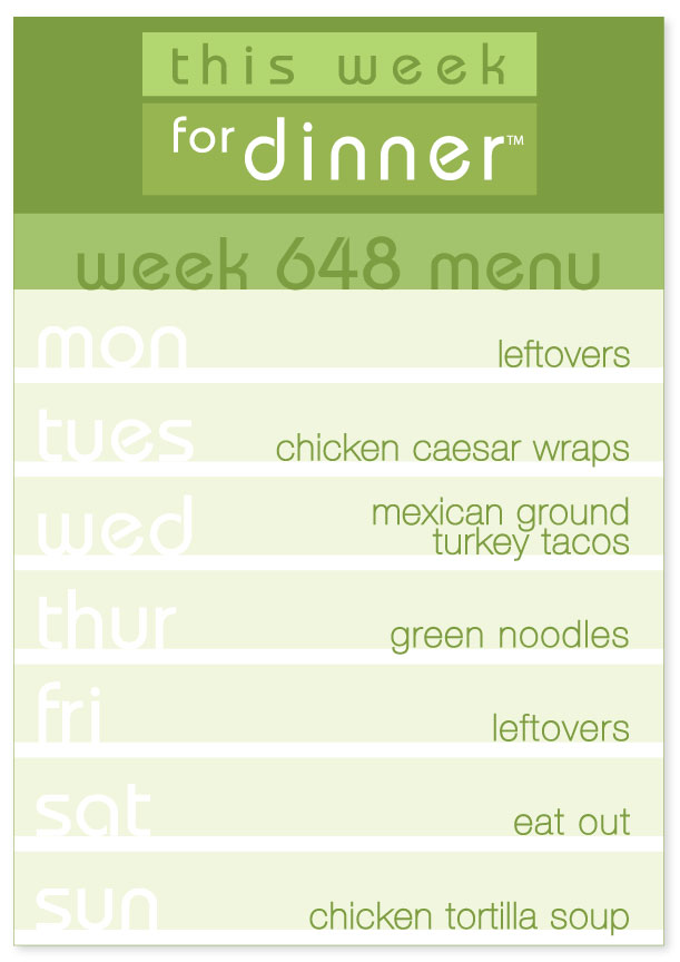Week 648 Weekly Dinner Menu: Monday - Leftovers; Tuesday - Chicken Caesar Wraps; Wednesday - Tacos; Thursday - Green Noodles; Friday - Leftovers; Saturday - Eat out; Sunday - Chicken Tortilla Soup