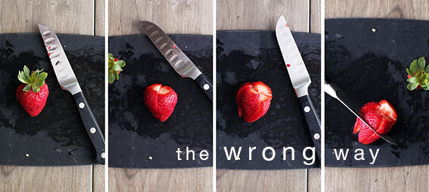 Step-by-step photo of the wrong way to cut up strawberries
